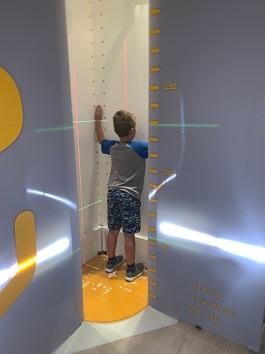 Boy patient in EOS X-ray machine